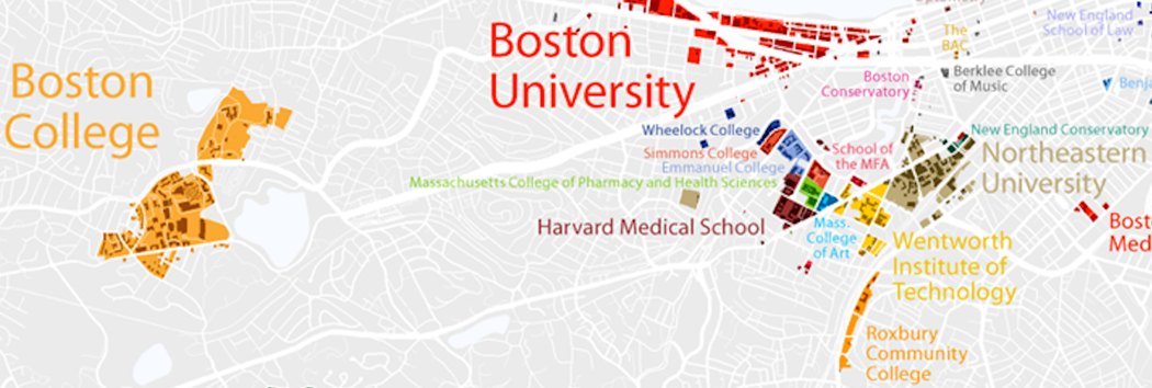 Map of colleges and universities around Brookline